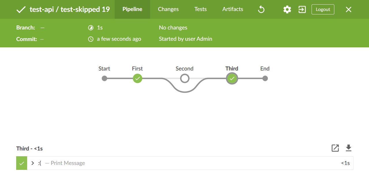 Example of a skipped stage being marked as such in Jenkins BlueOcean interface